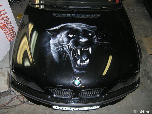 аэрография на черных автомобилях фото