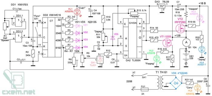 Электронная схема устройства ступенчатого восстановления зарядно-разрядным током конструктивно состоит из нескольких...