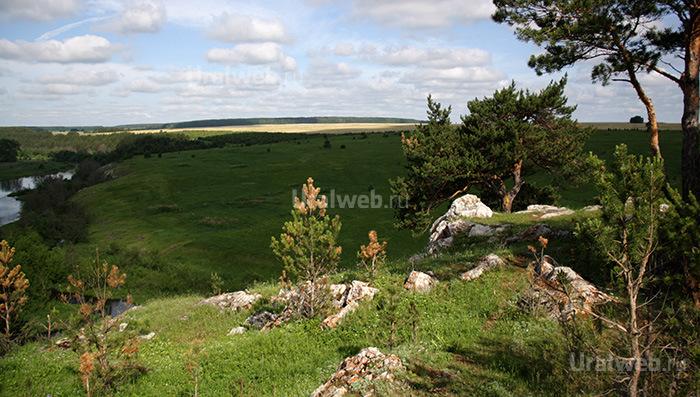 Вид на реку Реж с территории базы Мантуров камень